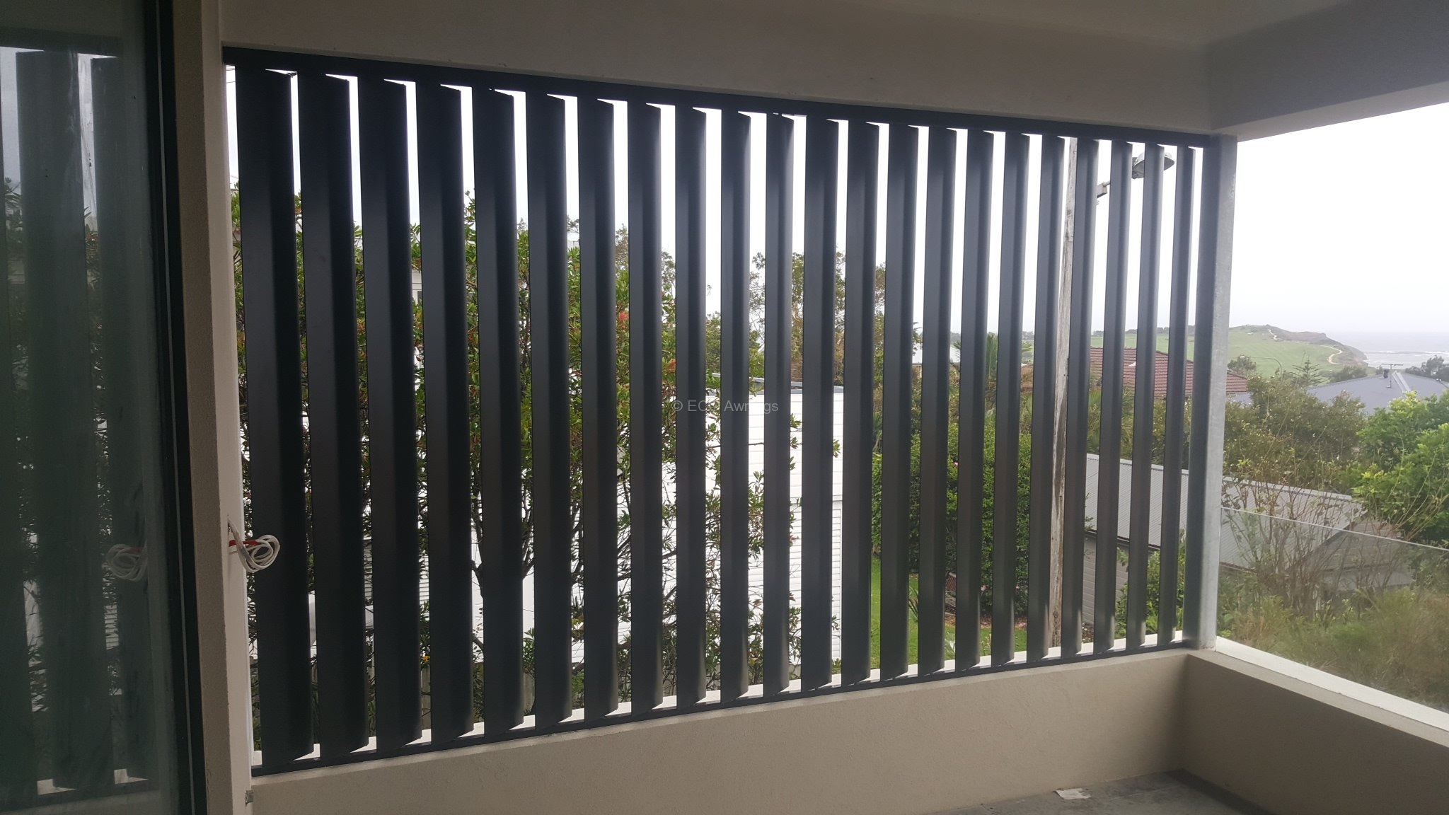 Privacy screen with adjustable 160mm vertical louvers for Balcony louvres