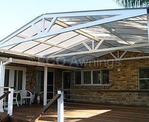 Gable roof polycarb awning