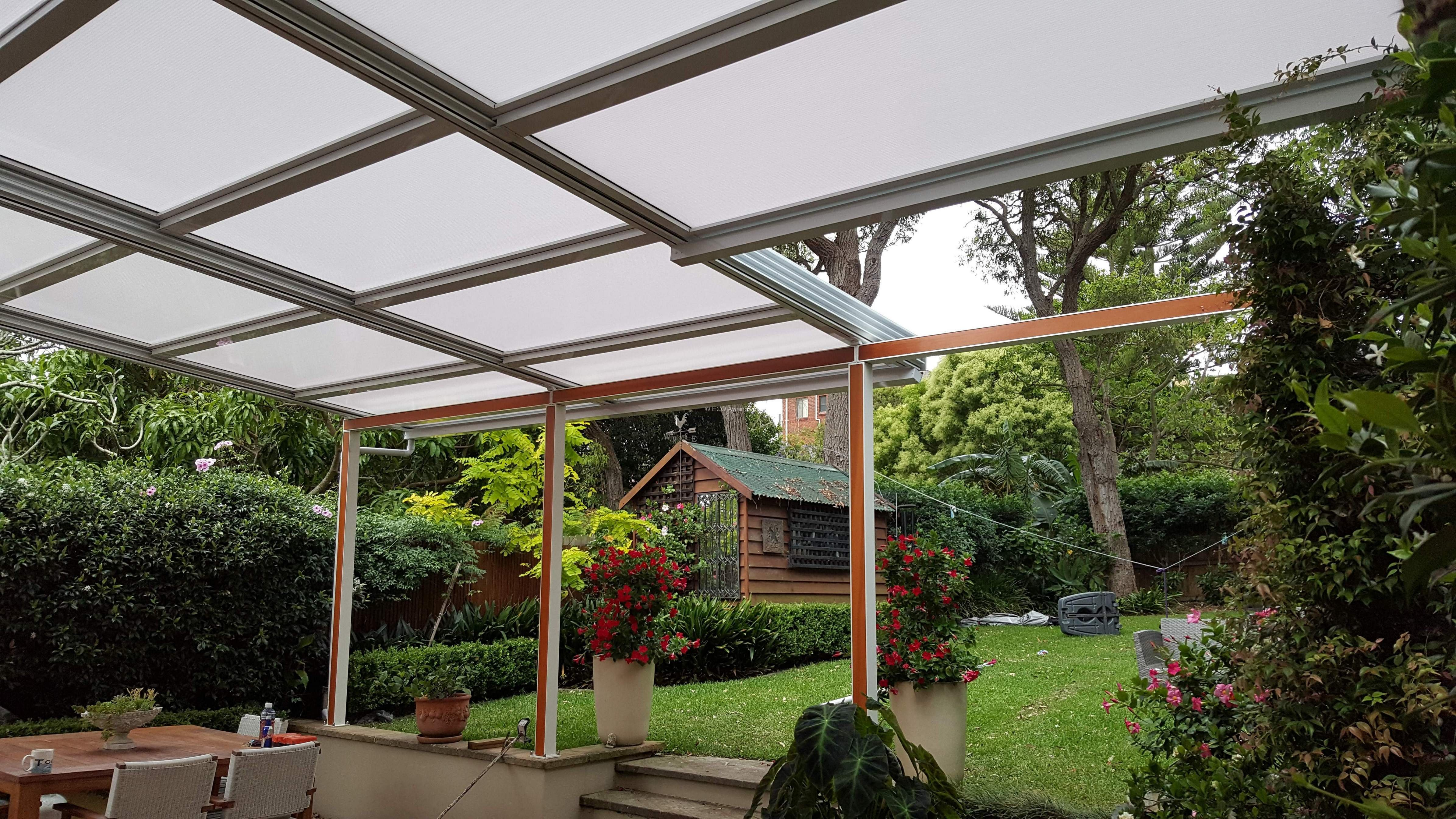 Retracta roof polycarb opal with 3 bays 4 panels roof for 3 bays