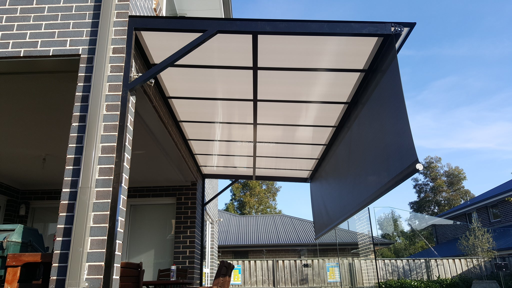Canter Lever Twin Wall Polycarb Awnings Eco Awnings