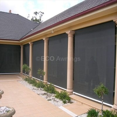 straight drop fabric awnings